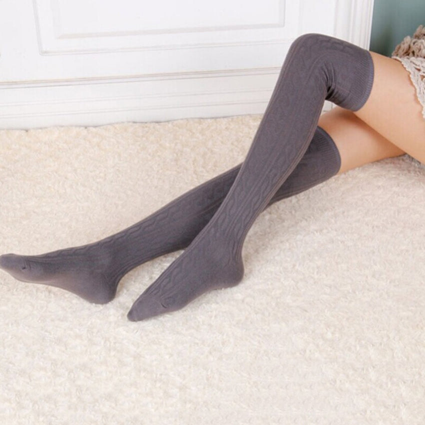 Women Wool Braid Over the Knee Thigh Highs Hose Stockings Twist Warm Winter Hot Stockings