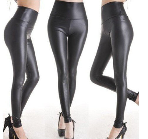 East Knitting Fashion Black Womens Leggings Stretch Leather Sexy High Waist Pants S/M/L 4 Size 1 pair Retail