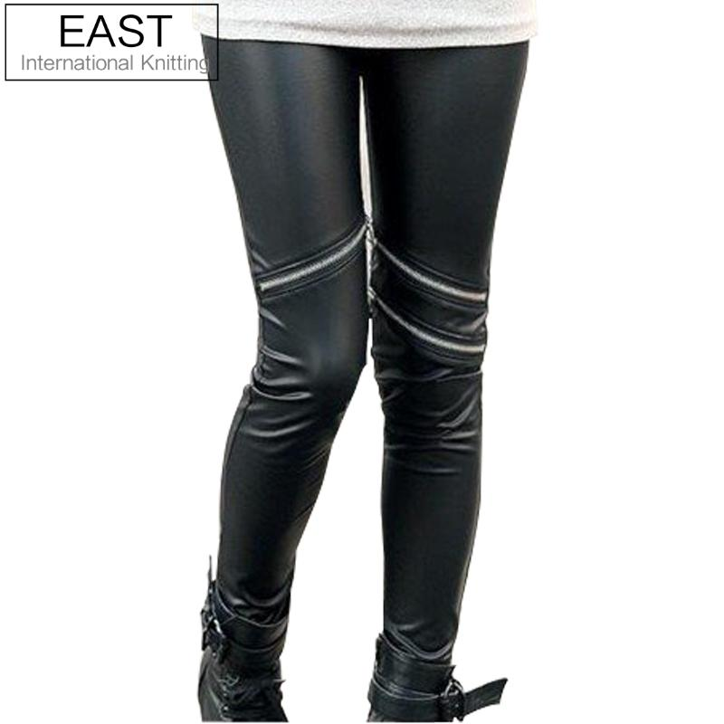 East Knitting +Wholesale C8 2012 Fashions Hot  Style Neon Metallic Electric Zippers Leather Leggings