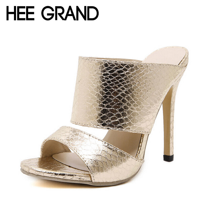 HEE GRAND Woman Summer Slippers Solid Serpentine Printed Peep Toe Thin High Heels PU Leather Shoes Woman Size Plus 35-40 XWZ2441