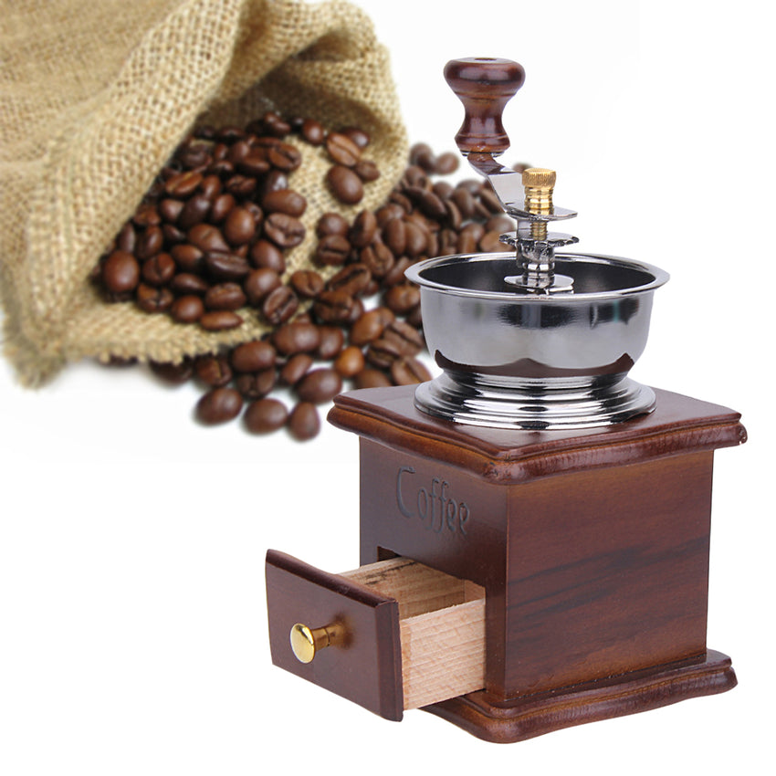 Antique Hand Coffee Grinder Wood Stand Metal Bowl Coffee Bean Mill Muller Drinking Coffee Tea Set Cafe Bar Accessories