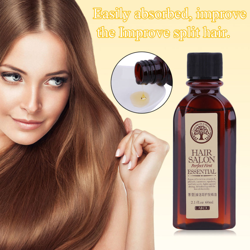 60ML LAIKOU Multifunctional Hair Care Moroccan Pure Argan Oil Essential Dry Hair Type Treatments Oil For Moisturizing Hair