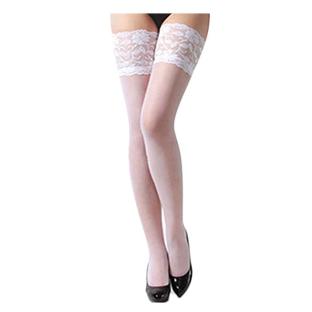 Cheap Sexy Women Sheer Lace Top Thigh High Sexy Lingerie Stockings