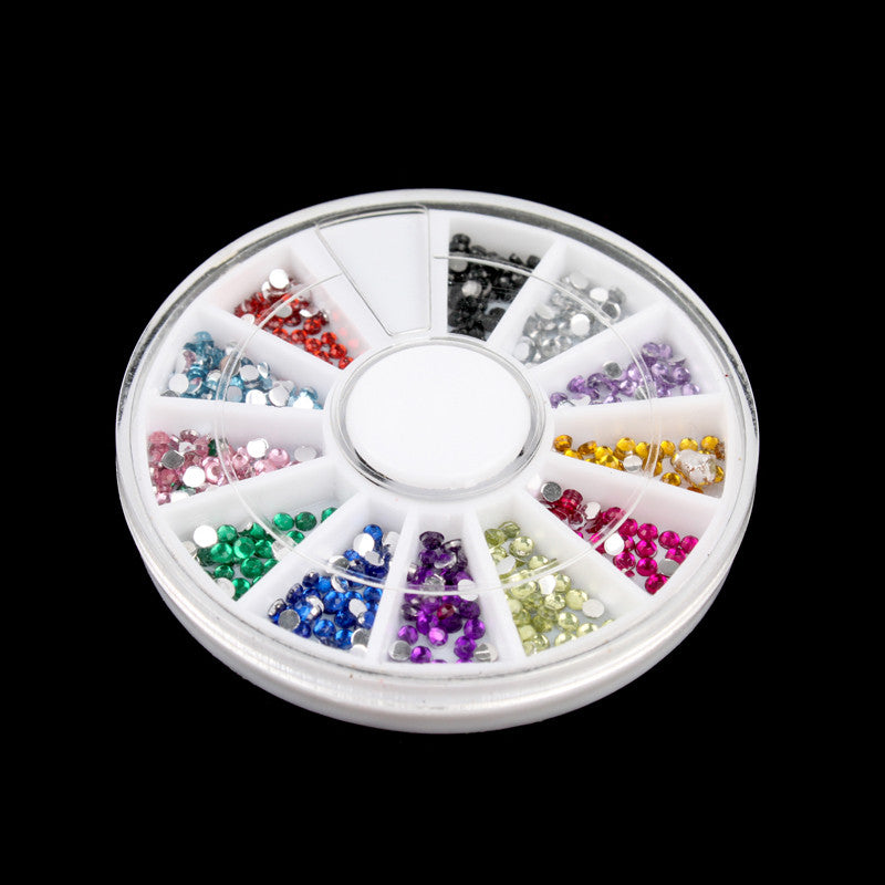 12 Colors Nail Art rhinestones Acrylic Nail Decoration 2mm For UV Gel Iphone and laptop DIY Free Shipping