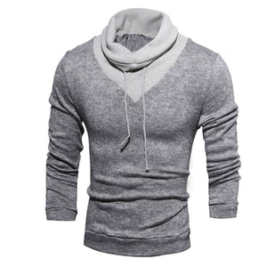 2017 Fashion Men's Autumn Turtle Neck Long Sleeve Slim Casual Color Stitching Shirt Pullover Sweatshirt Blouse Sportswear