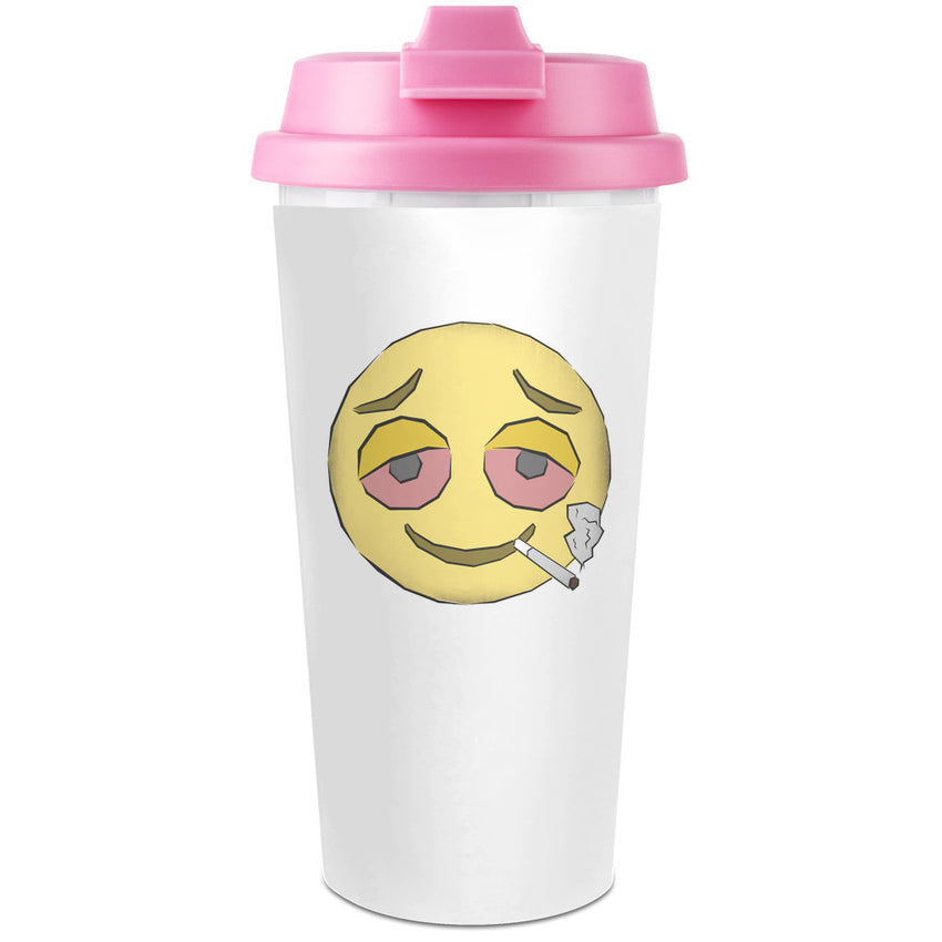 Stoned Emoji  Plastic Travel Coffee Cup - 450 ml - Enjoy Your Drinks Everywhere