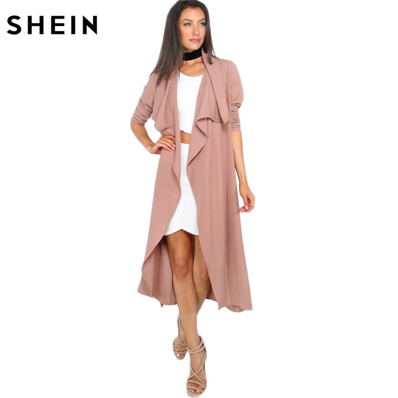 SHEIN Autumn Womens New Fashion Coffee Lapel Long Sleeve Trench Coat Open Front Tie Waist Casual Long Outerwear Windbreaker