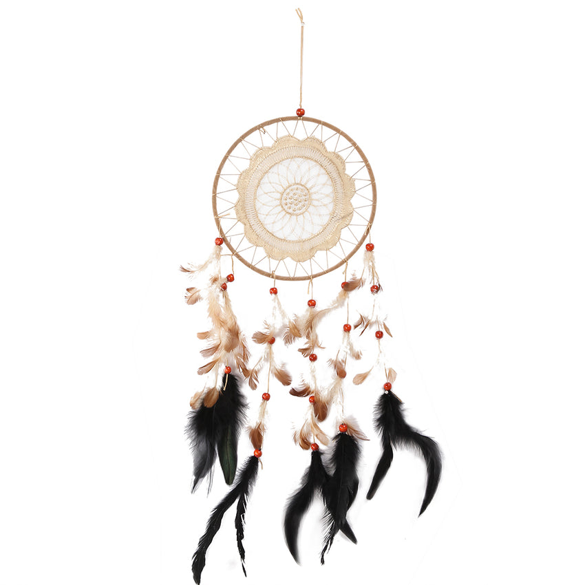 Coffee Lace Handmade Wind Chimes Indian Style Dream Catcher Feather Pendant for Window Car Wall Hanging Decoration Ornament