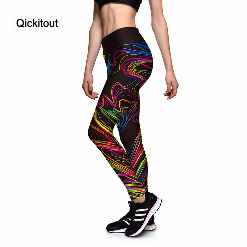 Qickitout Leggings New Hot Women's Wonderful Colorful Painting 3D Print PANTS Women High Waist Pants Trousers Fitness S-XXXXL