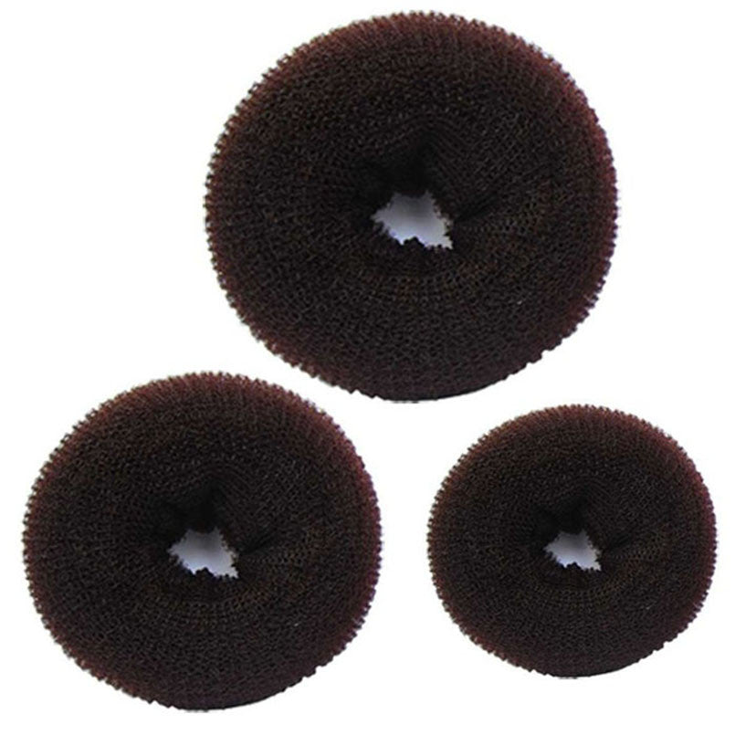 3 Pcs Sponge Women Hair Bun Ring Donut Shaper Maker 3 Sizes Coffee