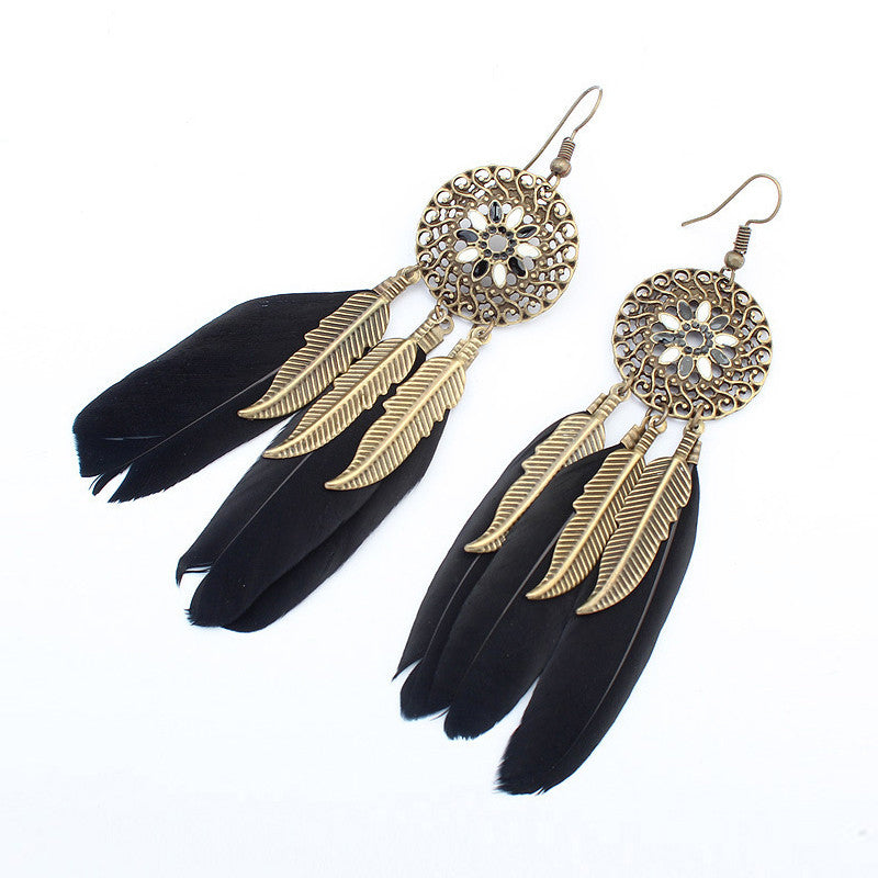 Bohemia Feather Long Design Dream Catcher Earrings for Women Jewelry