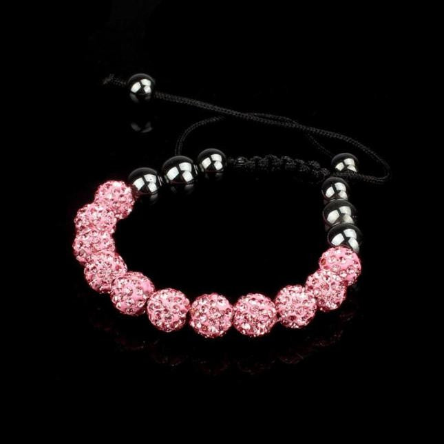 10mm Crystal Ball Bead Friendship Shamballa Adjustale Bracelet Black
