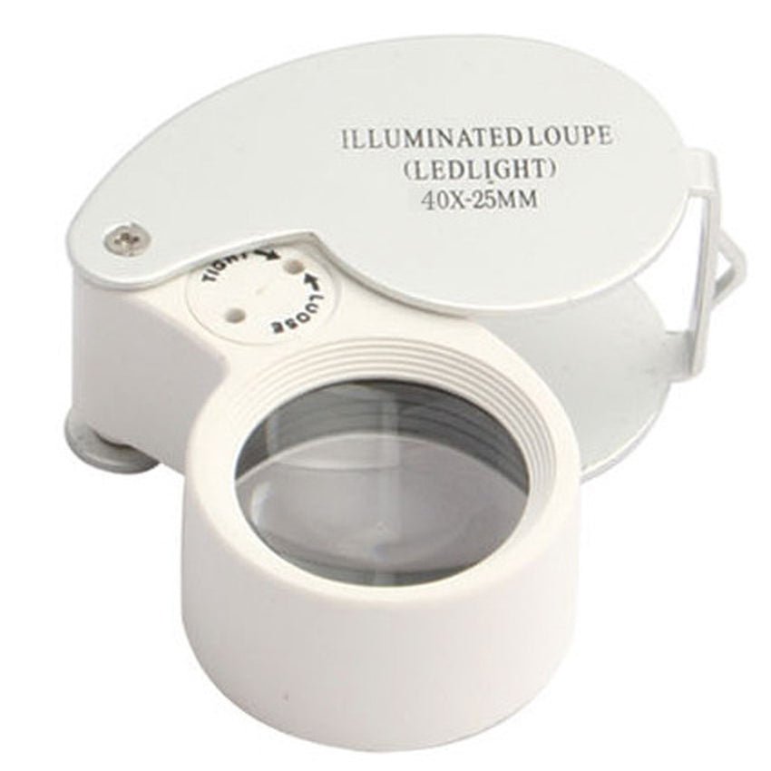 40x 25mm Glass Magnifying Magnifier Jeweler Eye Jewelry Loupe Loop LED Light
