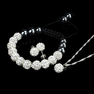 10MM Crystal Ball Shamballa Bracelet Earrings Set Necklace Jewelry WH