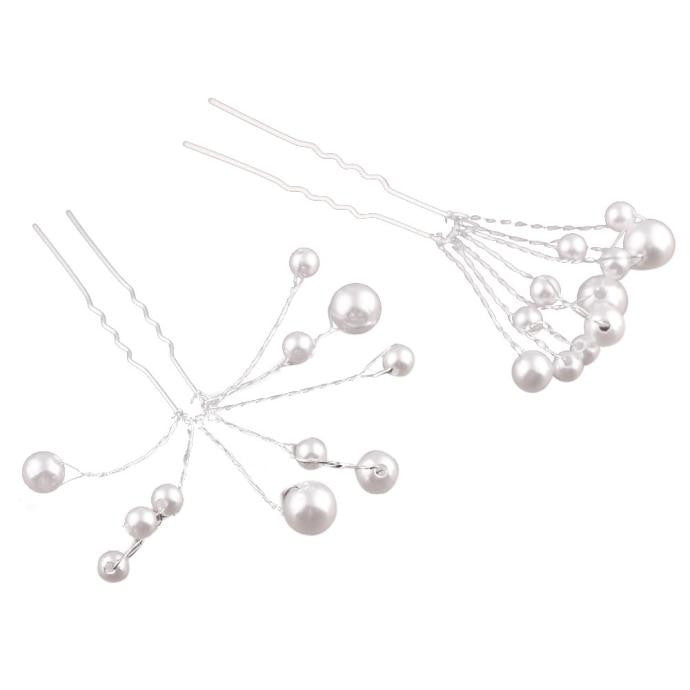5Pcs Wedding Bridal bridesmaid Pearl Flower Headpiece Hair Pin Hairpin