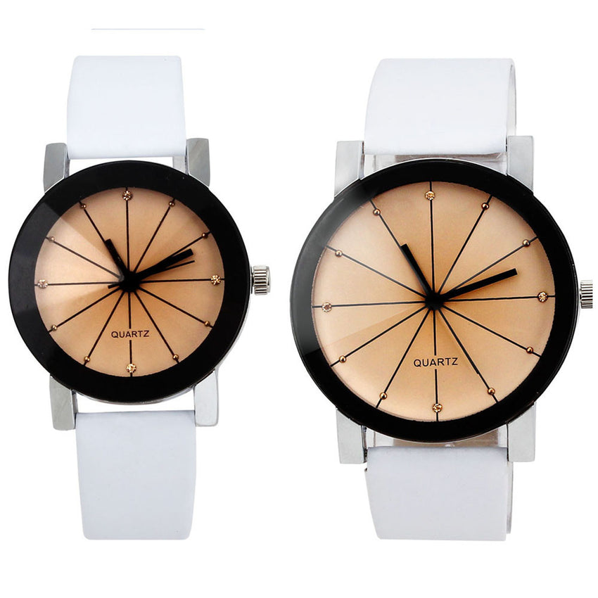 1Pair Men and Women Quartz Dial Clock Leather Wrist Watch Round Case
