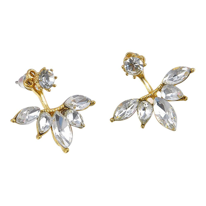 1Pair Fashion Women Crystal Rhinestone Ear Flower Earrings Jewelry