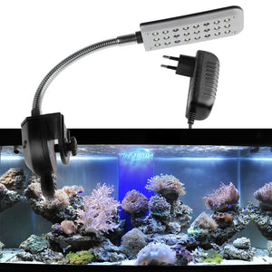 1.5W 24 LED Aquarium Clamp Light Fish Tank Lamp 2 Mode Blue and White EU Plug