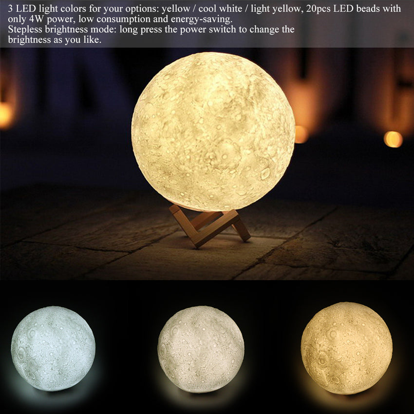 "3D Magical Moon LED Night Light Moonlight Desk Lamp USB Rechargeable 3 Light Colors Stepless for Home Decoration Christmas(Diameter: 18cm/7.1"")"