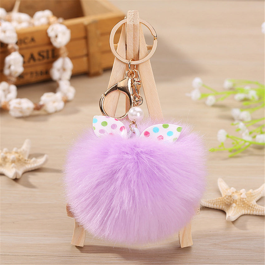 15CM Cute Owl Keychain Pendant Women Key Ring Holder Pompoms Key Chains
