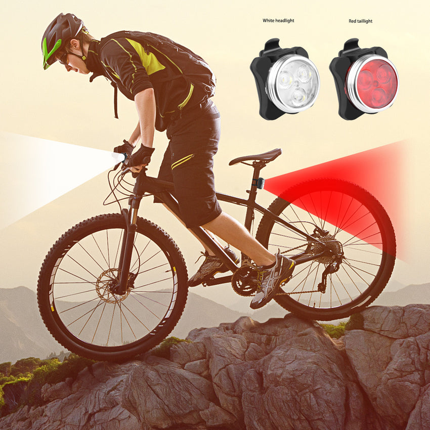 2pcs Rechargeable LED Bicycle Headlight & Taillight Combo Set Red+White Front Rear Light Safety Warning Lamp   5 Mode SOS with Mounted Strap