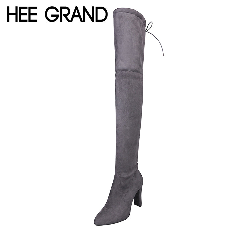 HEE GRAND 2017 New Over Knee High Boots Spike Heels Slip On Winter Warm Women Boots Fashion Solid High Heels Shoes Woman XWX6575