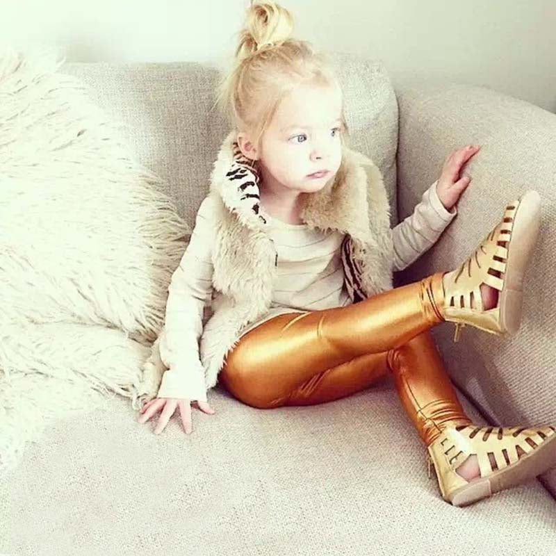 Bear Leader 2016 New style Autumn 4-8years skinny Gold Black Red Silver kid leather pants girl legging baby girls boys pants