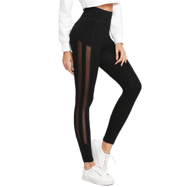 SHEIN Women Workout Leggings Fitness Elastic Leggings Womens Clothing Black Striped Contrast Mesh Panel Leggings