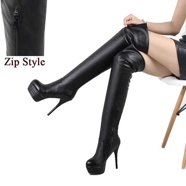 BONJOMARISA Plus Size 34-46 Fashion Over Knee Thigh High Boots Women Sexy Thin High Heels Shoes Slip-On Zip Platform Shoes Woman