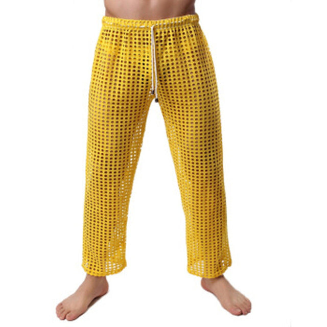 Brand Fashion 2018 Men's Sexy Pants See Through Lounge Pants New Fishnet Sheer Long Pajama Bottoms New Sexy Men's Mesh Pants