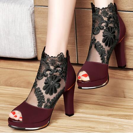Women Sandals 2018 Summer gauze high-heeled shoes lace Fish mouth women sandals fashion summer ankle boots S069
