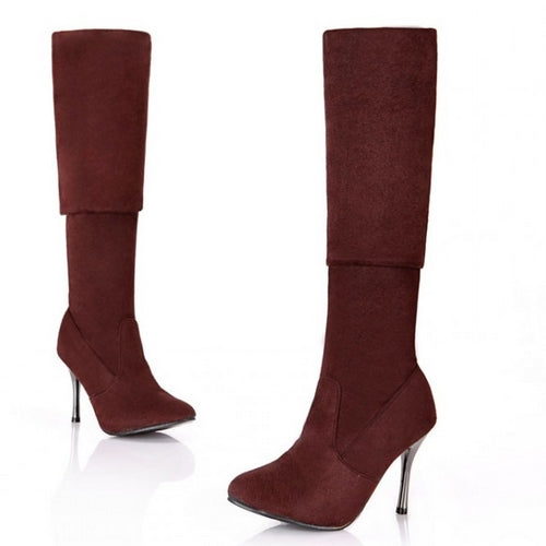 BONJOMARISA New Over The Knee High Boots Women Shoes Big Size Thigh High Boots Woman Round Toe High Heel Platform Shoes
