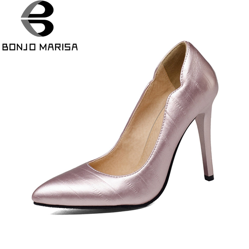BONJOMARISA 2018 Plus Size 31-47 Slip On Pointed Toe Woman Pumps Black Pink Red Shoes Woman Thin High Heels Office Lady Pumps