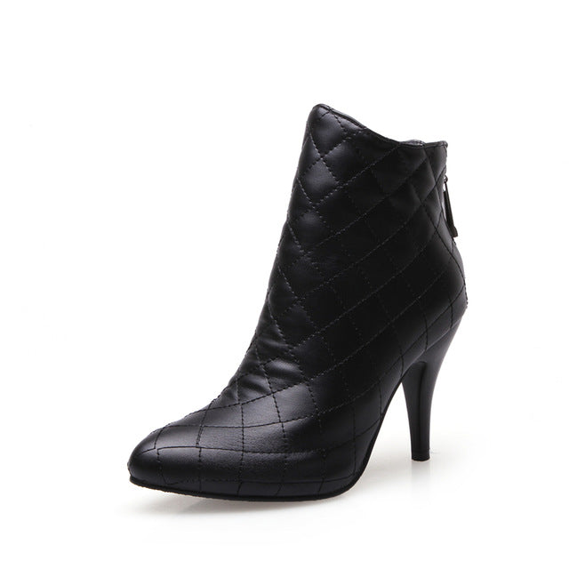 BONJOMARISA Large Size 32-48 customization thin high heels ankle boots shoes women white black fashion shoes woman