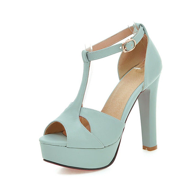 BONJOMARISA New Large Size 33-43 t-strap Peep Toe Platform Sandals Shoes Woman Sexy High Heels Party Wedding Summer Sandal