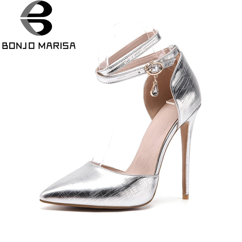 BONJOMARISA 2018 summer brand plus size 33-48 patent women sandals super high thin heels party shoes woman shallow lady shoe