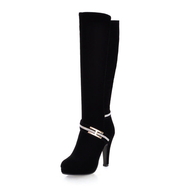 BONJOMARISA 2018 High Quality Size 34-39 knee-high Boots Fashion Round Toe High Heels Platform Women Boots Woman