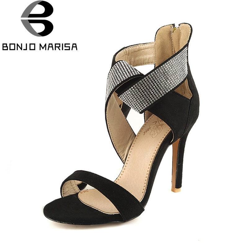 BONJOMARISA 2018 Plus Size 32-46 Zipper Gladiator Brand Shoes Woman Summer Sandals Concise High Heels Party Women Shoes