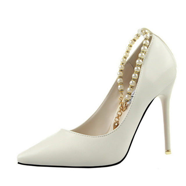 New Women Fashion Pearl Pumps Thin Heels Ankle Chain Pumps Elegant Women Pointed Toe Party Shoes