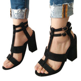 Sexy Summer High Heels Womens Sandals Ankle Strap For Wedding Party Sandals Square Heel Open Toe Buckle Strap