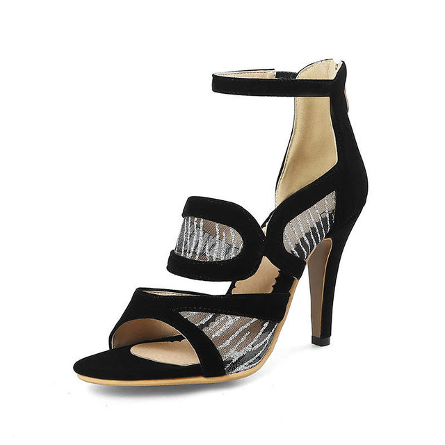 BONJOMARISA 2018 Summer Brand Fashion Breathable Mesh Women Sandals Plus Size 33-46 High Heels Elegant Shoes Woman