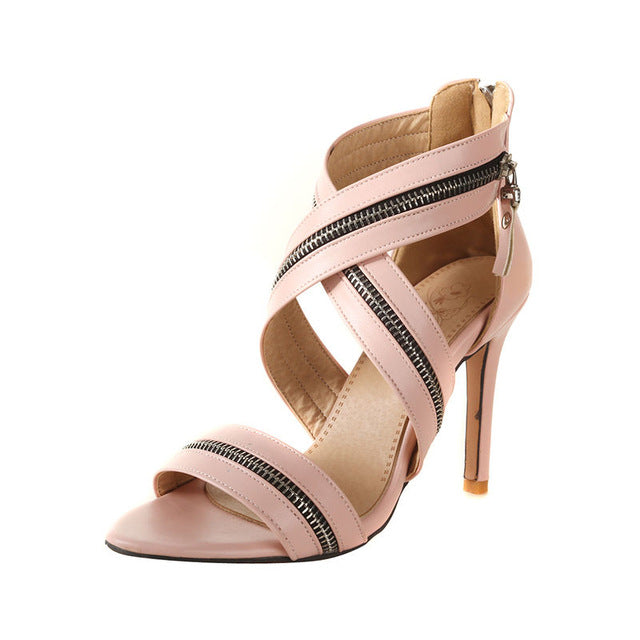 BONJOMARISA 2018 Summer Brand New Fashion Zipper Design Women Sandals Plus Size 32-46 High Heels Elegant Shoes Woman