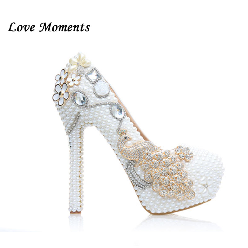Love Moments New Arrival Ivory Pearl Party shoes Woman wedding Dress shoes and purse sets high Heel platform shoes women's Pumps