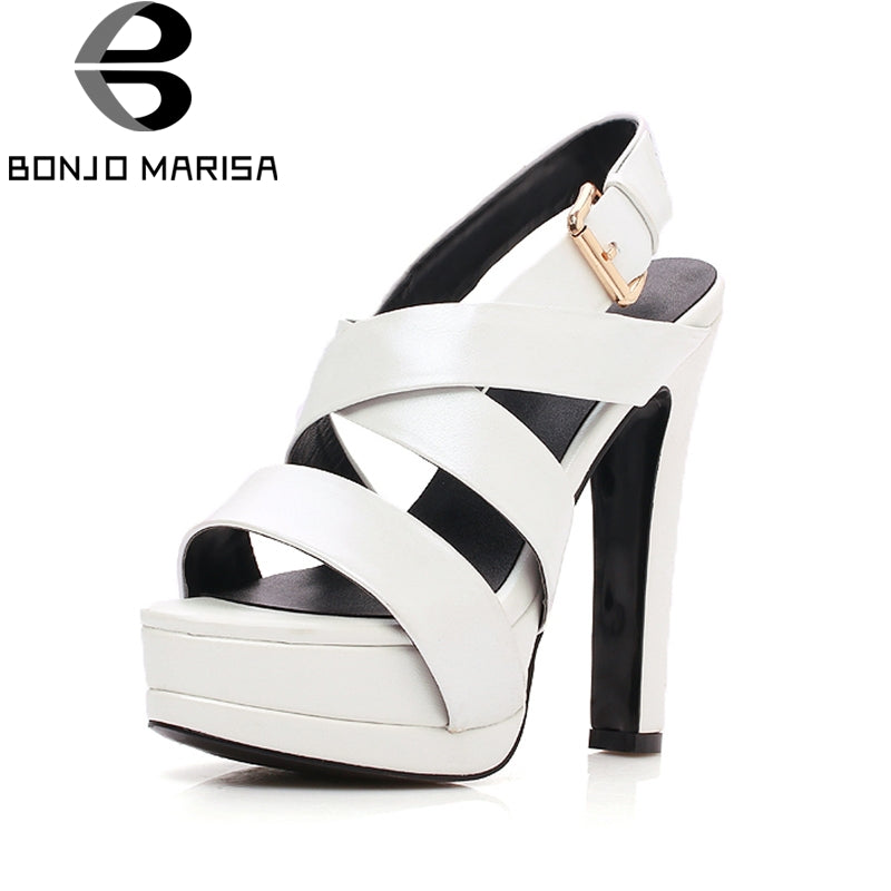 BONJOMARISA 2018 Genuine Leather Sheepskin Platform Summer Sandals Women Shoes High Heels Party Gladiator  Shoes Woman