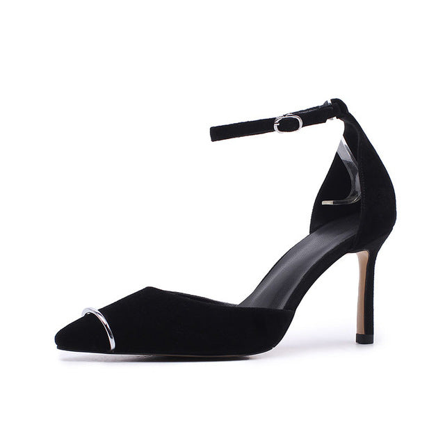 BONJOMARISA 2018 Summer Sexy Shallow Overall Genuine Leather Women Sandals Mature Black Decorating High Heels Ol Shoes Woman