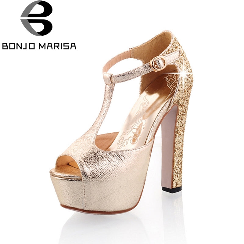 BONJOMARISA 2018 Summer New Big Size 31-43 Women Party Sandals Bling Glitters High Heels Shoes Woman Platform Shoes Women Lady