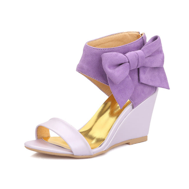 BONJOMARISA Best Quality Wholesale Sweet Bow Summer Shoes Woman Sandals Wedge High Heels Party Date Women Shoes