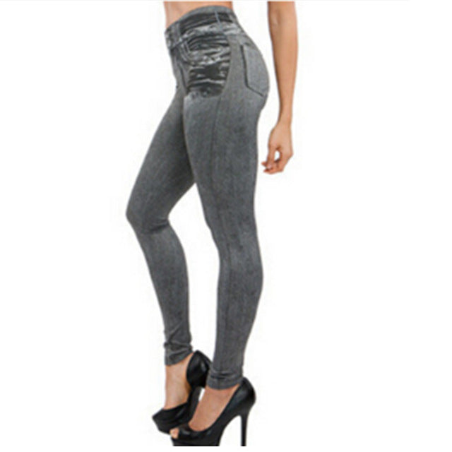 2017 Leggings Jeans for Women Denim Pants with Pocket Slim Leggings Women Fitness Plus Size Leggins S-XXL Black/Gray/Blue