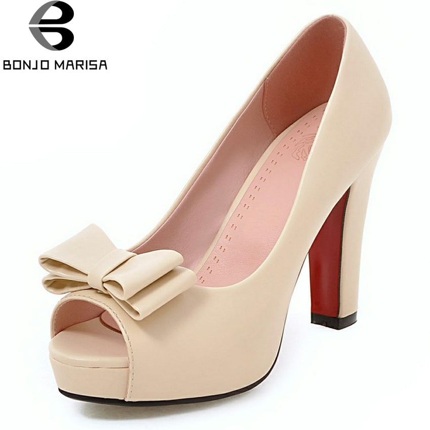 BONJOMARISA 2018 Spring Autumn Sexy Peep Toe Pumps Women Platform Sweet buttfly-knot High Heels Shoes Woman Big Size 32-43