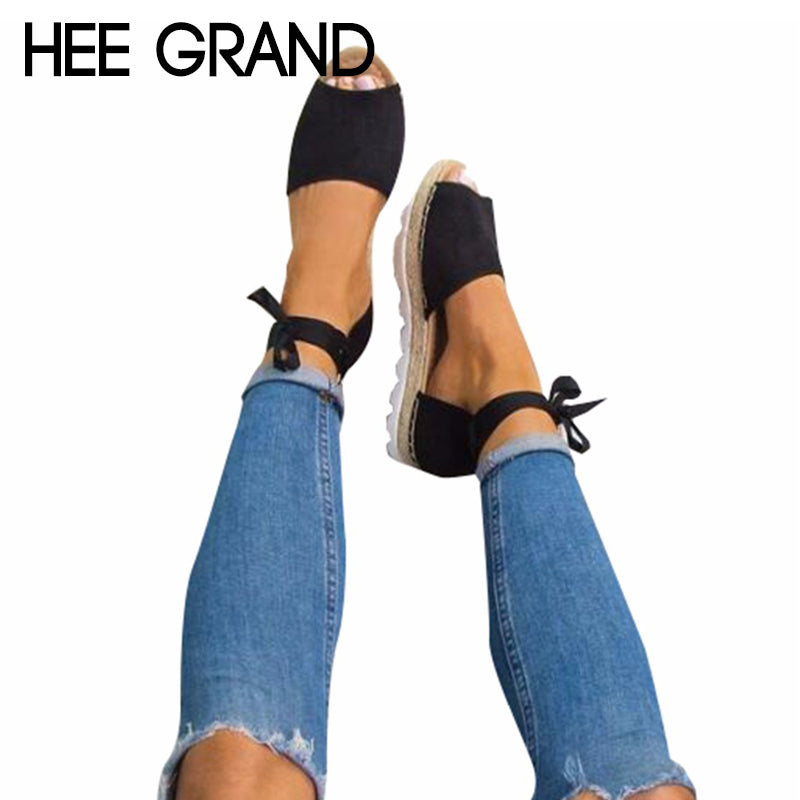 HEE GRAND Riband Lace-up Fashion New Summer Ladies Fish Head Sandals Woman Flat With Shoes Plus Size 35-42 XWZ4505